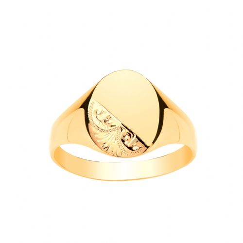 Yellow Gold Gents Part Patterned Oval Signet Ring
